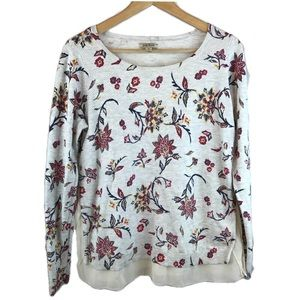 {LUCKY BRAND} Floral Pullover Layered Sweater